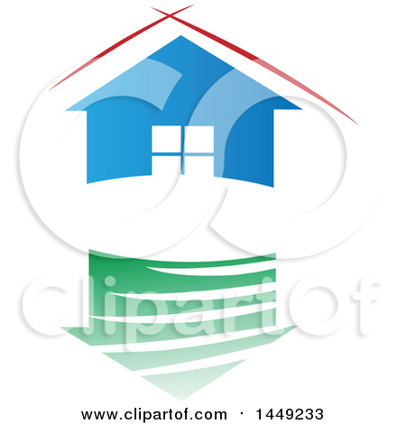 Clipart Graphic of a Blue House with Red Lines over the Roof, Above a Green Reflection - Royalty Free Vector Illustration by Domenico Condello