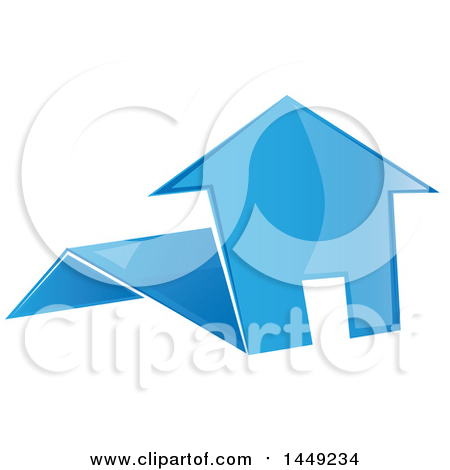 Clipart Graphic of a Blue Folded Paper House - Royalty Free Vector Illustration by Domenico Condello