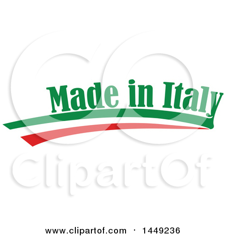 Clipart Graphic of an Italian Ribbon Flag Made in Italy Design Element - Royalty Free Vector Illustration by Domenico Condello