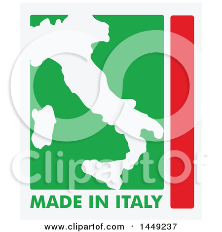 Clipart Graphic of an Italian Map and Made in Italy Stamp Design Element - Royalty Free Vector Illustration by Domenico Condello