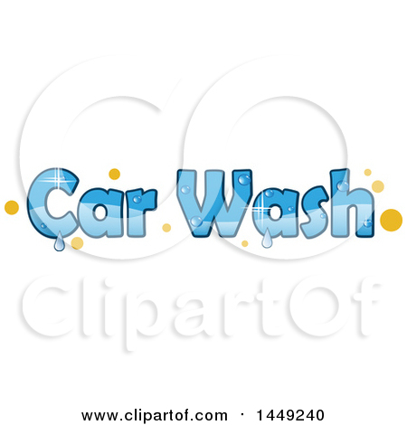 Clipart Graphic of a Sparkly Blue Car Wash Design with Yellow Dots and Water Drops - Royalty Free Vector Illustration by Domenico Condello