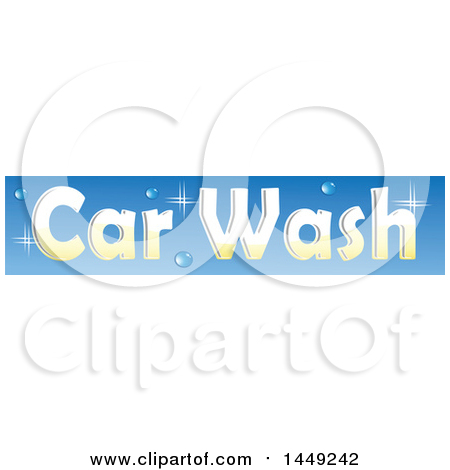 Clipart Graphic of a Sparkly Car Wash Design on Blue - Royalty Free Vector Illustration by Domenico Condello