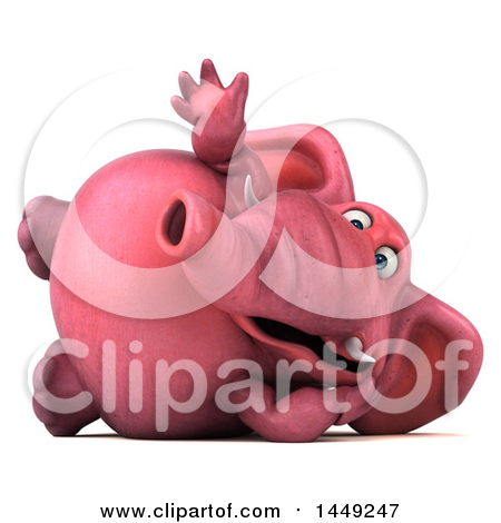 Clipart Graphic of a 3d Pink Elephant Character, on a White Background - Royalty Free Illustration by Julos
