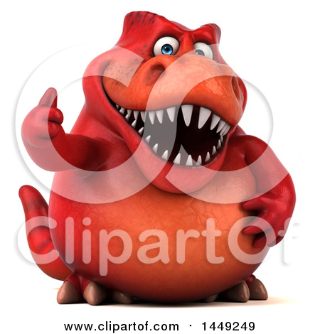 Clipart Graphic of a 3d Red Tommy Tyrannosaurus Rex Dinosaur Mascot Giving a Thumb Up, on a White Background - Royalty Free Illustration by Julos