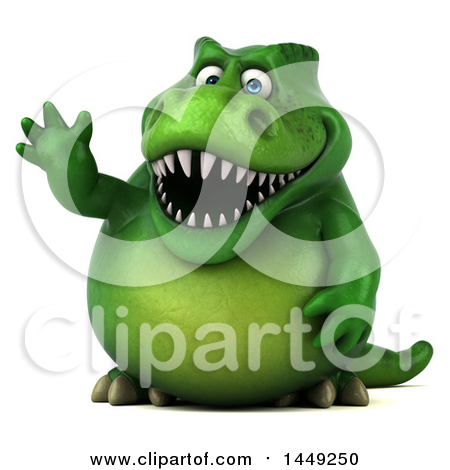 Clipart Graphic of a 3d Green Tommy Tyrannosaurus Rex Dinosaur Mascot Waving, on a White Background - Royalty Free Illustration by Julos