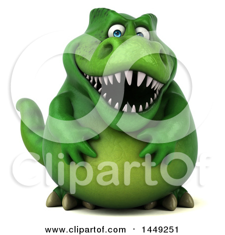 Clipart Graphic of a 3d Green Tommy Tyrannosaurus Rex Dinosaur Mascot, on a White Background - Royalty Free Illustration by Julos