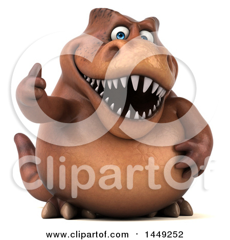Clipart Graphic of a 3d Brown Tommy Tyrannosaurus Rex Dinosaur Mascot Giving a Thumb Up, on a White Background - Royalty Free Illustration by Julos