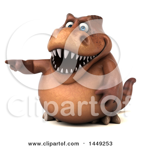 Clipart Graphic of a 3d Brown Tommy Tyrannosaurus Rex Dinosaur Mascot Pointing, on a White Background - Royalty Free Illustration by Julos