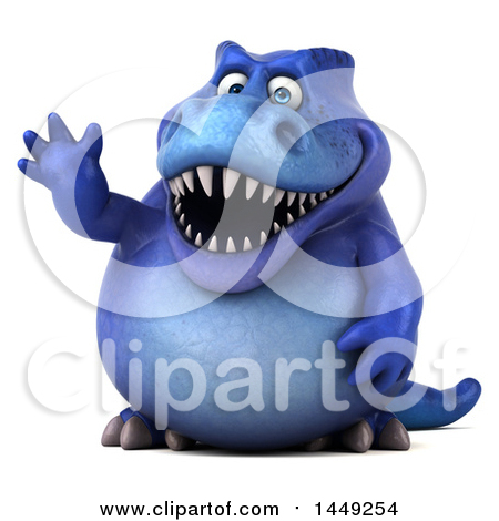 Clipart Graphic of a 3d Blue Tommy Tyrannosaurus Rex Dinosaur Mascot Waving, on a White Background - Royalty Free Illustration by Julos