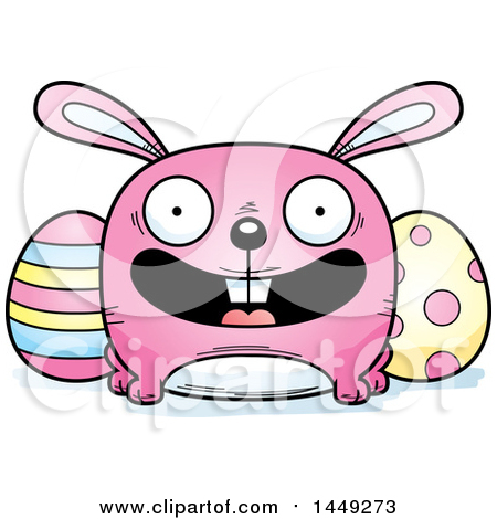Clipart Graphic of a Cartoon Happy Easter Bunny Character Mascot - Royalty Free Vector Illustration by Cory Thoman