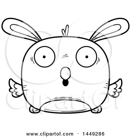 Clipart Graphic of a Cartoon Black and White Lineart Surprised Easter Bunny Chick Character Mascot - Royalty Free Vector Illustration by Cory Thoman