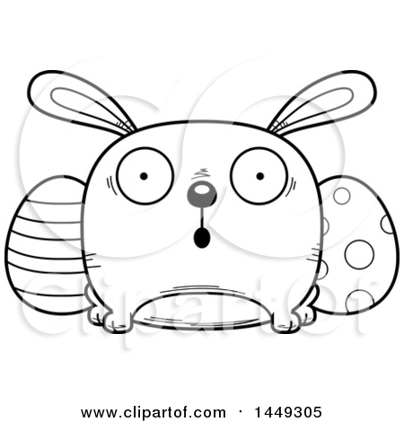 Clipart Graphic of a Cartoon Black And White Lineart Surprised Easter Bunny Character Mascot - Royalty Free Vector Illustration by Cory Thoman