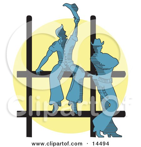 Two Cowboys By A Fence At A Rodeo Silhouetted By A Bright Light Clipart Illustration