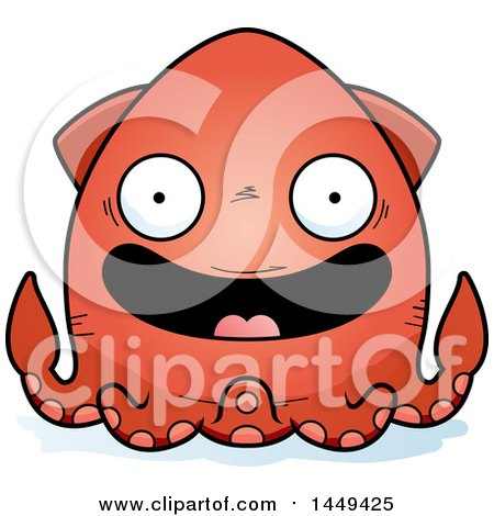 Clipart Graphic of a Cartoon Happy Squid Character Mascot - Royalty Free Vector Illustration by Cory Thoman