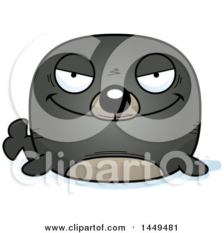 Clipart Graphic of a Cartoon Evil Seal Character Mascot - Royalty Free Vector Illustration by Cory Thoman