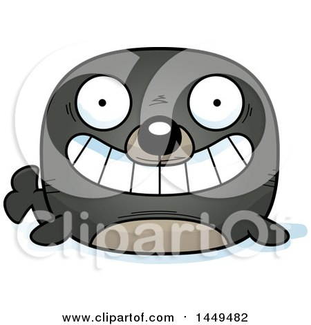 Clipart Graphic of a Cartoon Grinning Seal Character Mascot - Royalty Free Vector Illustration by Cory Thoman