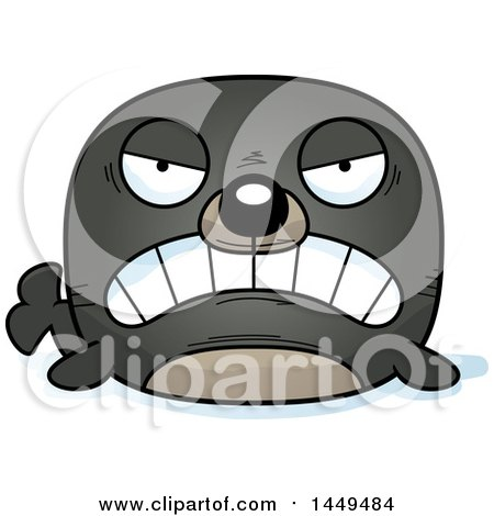 Clipart Graphic of a Cartoon Mad Seal Character Mascot - Royalty Free Vector Illustration by Cory Thoman