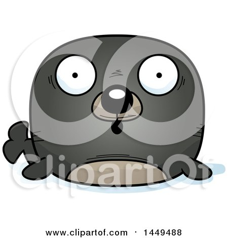 Clipart Graphic of a Cartoon Surprised Seal Character Mascot - Royalty Free Vector Illustration by Cory Thoman