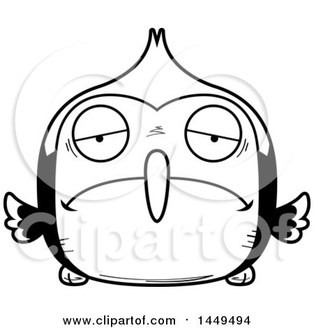 Clipart Graphic Of A Cartoon Black And White Lineart Sad Woodpecker