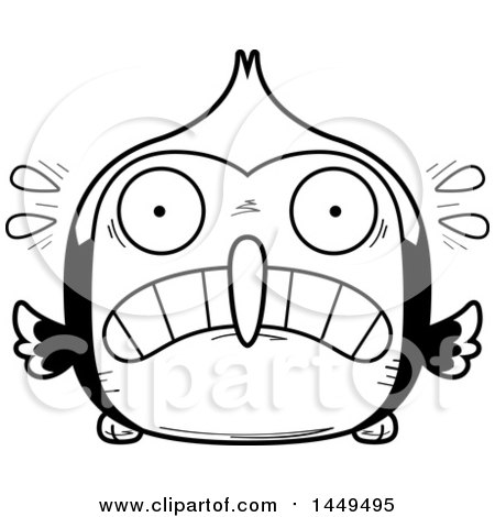 Clipart Graphic Of A Cartoon Black And White Lineart Scared