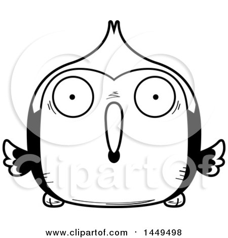 Clipart Graphic of a Cartoon Black and White Lineart Surprised Woodpecker Character Mascot - Royalty Free Vector Illustration by Cory Thoman