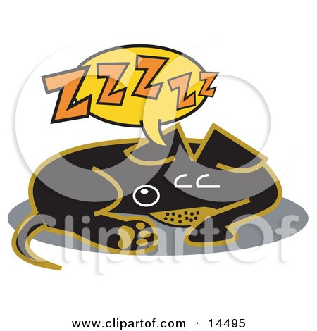 Exhausted Teckel Dog Sleeping Clipart Illustration by Andy Nortnik