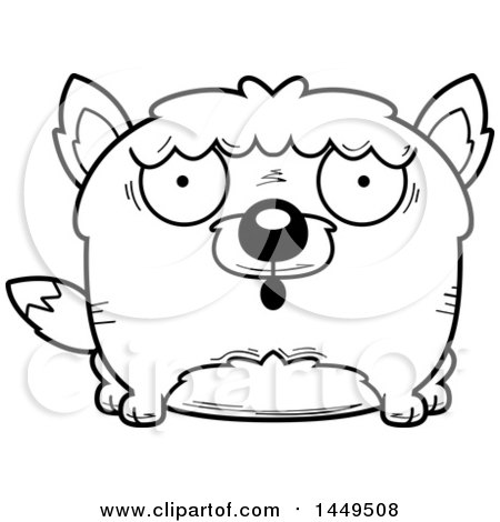 Clipart Graphic of a Cartoon Black and White Lineart Surprised Wolf Character Mascot - Royalty Free Vector Illustration by Cory Thoman