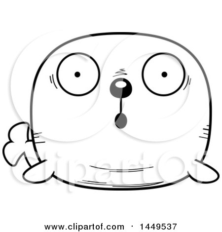 Clipart Graphic of a Cartoon Black and White Lineart Surprised Walrus Character Mascot - Royalty Free Vector Illustration by Cory Thoman