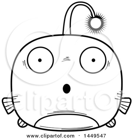Clipart Graphic of a Cartoon Black and White Lineart Surprised Viperfish Character Mascot - Royalty Free Vector Illustration by Cory Thoman