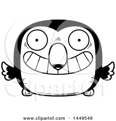 Clipart Graphic of a Cartoon Black and White Lineart Grinning Toucan Bird Character Mascot - Royalty Free Vector Illustration by Cory Thoman