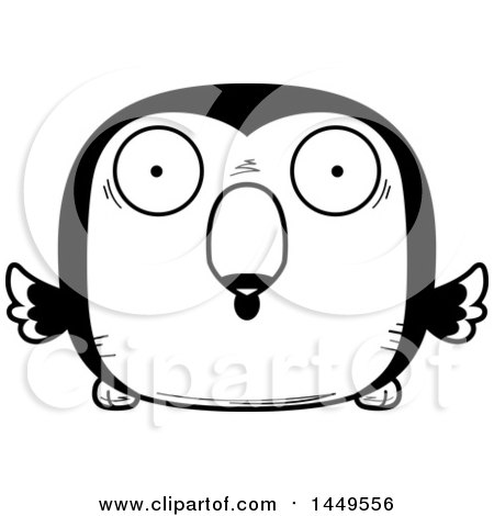 Clipart Graphic of a Cartoon Black and White Lineart Surprised Toucan Bird Character Mascot - Royalty Free Vector Illustration by Cory Thoman
