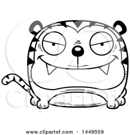 Clipart Graphic of a Cartoon Black and White Lineart Evil Tiger Character Mascot - Royalty Free Vector Illustration by Cory Thoman