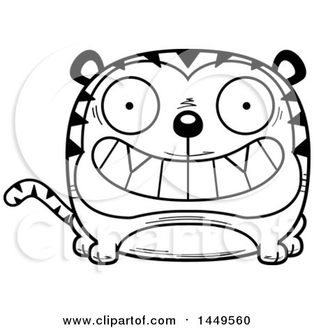 Clipart Graphic of a Cartoon Black and White Lineart Grinning Tiger Character Mascot - Royalty Free Vector Illustration by Cory Thoman