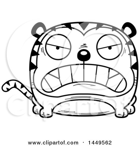 Clipart Graphic of a Cartoon Black and White Lineart Mad Tiger Character Mascot - Royalty Free Vector Illustration by Cory Thoman