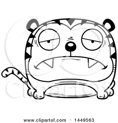 Clipart Graphic of a Cartoon Black and White Lineart Sad Tiger Character Mascot - Royalty Free Vector Illustration by Cory Thoman