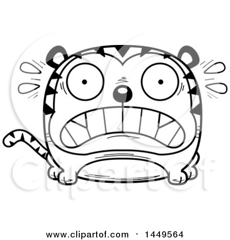 Clipart Graphic of a Cartoon Black and White Lineart Scared Tiger Character Mascot - Royalty Free Vector Illustration by Cory Thoman