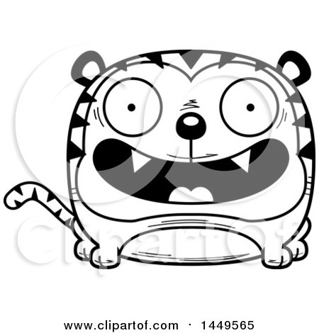 Clipart Graphic of a Cartoon Black and White Lineart Happy Tiger Character Mascot - Royalty Free Vector Illustration by Cory Thoman