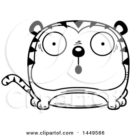 Clipart Graphic of a Cartoon Black and White Lineart Surprised Tiger Character Mascot - Royalty Free Vector Illustration by Cory Thoman