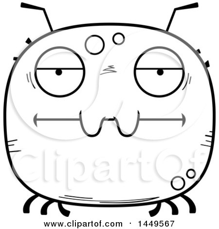 Clipart Graphic of a Cartoon Black and White Lineart Bored Tick Character Mascot - Royalty Free Vector Illustration by Cory Thoman