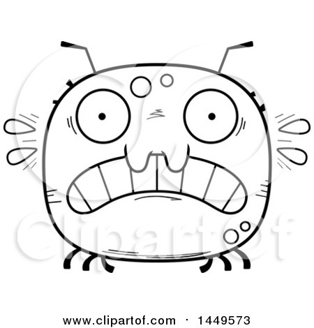 Clipart Graphic of a Cartoon Black and White Lineart Scared Tick Character Mascot - Royalty Free Vector Illustration by Cory Thoman