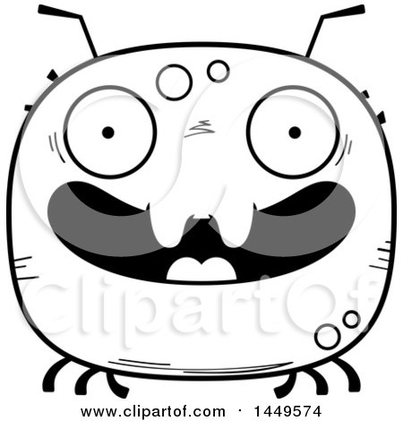 Clipart Graphic of a Cartoon Black and White Lineart Happy Tick Character Mascot - Royalty Free Vector Illustration by Cory Thoman