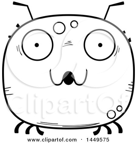 Clipart Graphic of a Cartoon Black and White Lineart Surprised Tick Character Mascot - Royalty Free Vector Illustration by Cory Thoman