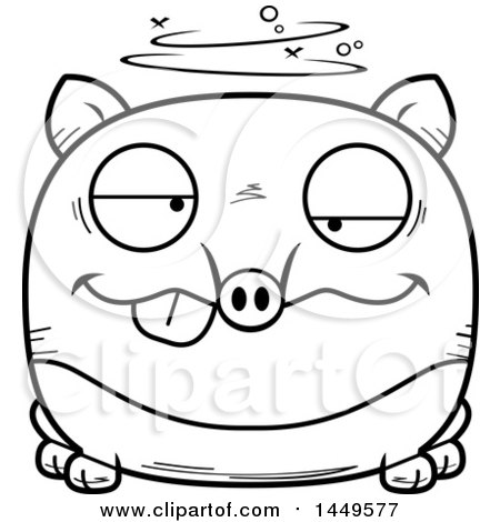 Clipart Graphic of a Cartoon Black and White Lineart Drunk Tapir Character Mascot - Royalty Free Vector Illustration by Cory Thoman