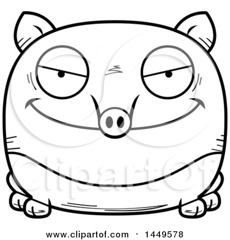 Clipart Graphic of a Cartoon Black and White Lineart Evil Tapir Character Mascot - Royalty Free Vector Illustration by Cory Thoman