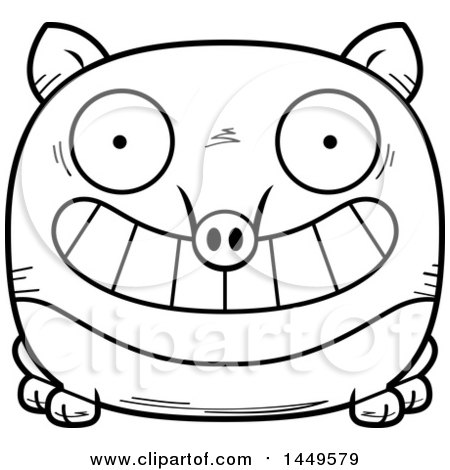 Clipart Graphic of a Cartoon Black and White Lineart Grinning Tapir Character Mascot - Royalty Free Vector Illustration by Cory Thoman