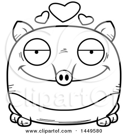 Clipart Graphic of a Cartoon Black and White Lineart Loving Tapir Character Mascot - Royalty Free Vector Illustration by Cory Thoman