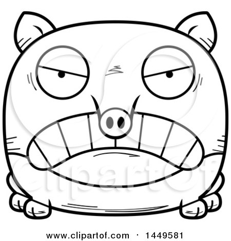 Clipart Graphic of a Cartoon Black and White Lineart Mad Tapir Character Mascot - Royalty Free Vector Illustration by Cory Thoman