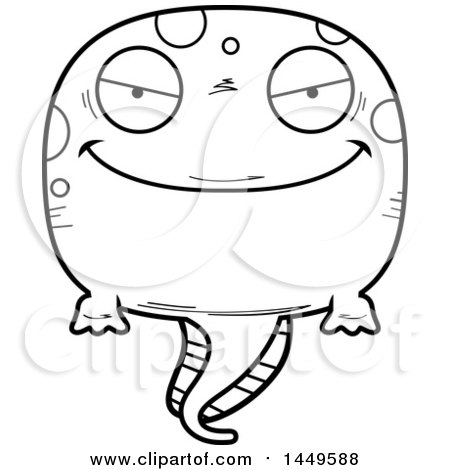 Clipart Graphic of a Cartoon Black and White Lineart Evil Tadpole Pollywog Character Mascot - Royalty Free Vector Illustration by Cory Thoman