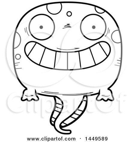 Clipart Graphic of a Cartoon Black and White Lineart Grinning Tadpole Pollywog Character Mascot - Royalty Free Vector Illustration by Cory Thoman