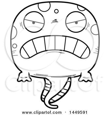 Clipart Graphic of a Cartoon Black and White Lineart Mad Tadpole Pollywog Character Mascot - Royalty Free Vector Illustration by Cory Thoman